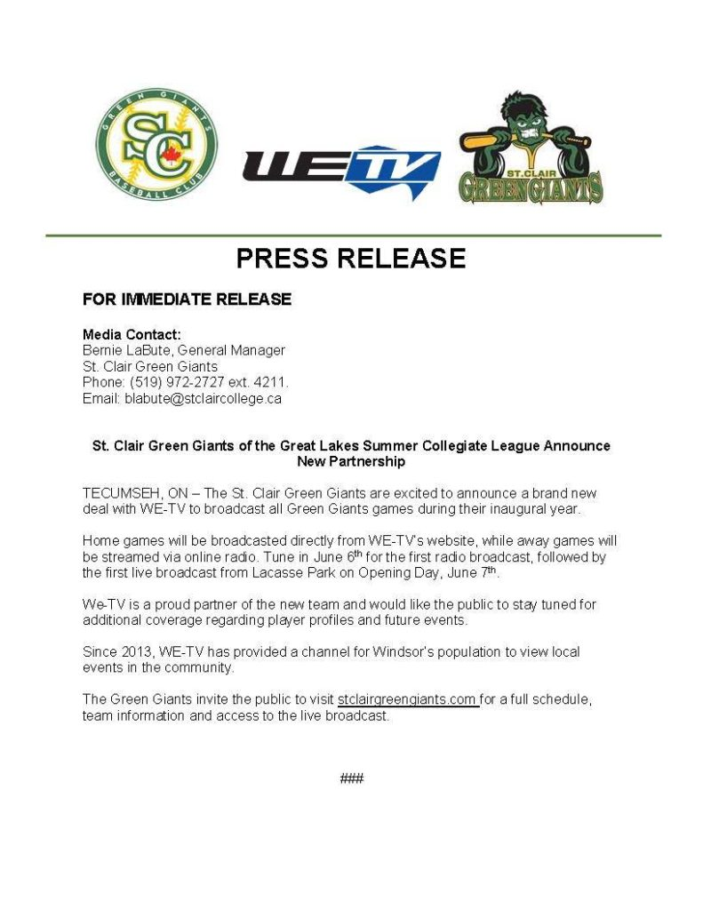 St Clair Green Giants Announce Broadcast Partnership With We Tv We Tv